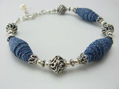 Blue Jean Babe Bracelet (BooBeads) Tags: modern silver one recycled jewelry kind jeans bracelet denim sterling etsy boobeads Textile Jewelry, Fabric Jewelry, Hair Jewelry, Jewellery, Denim Bracelet, Denim Earrings, Handmade Bracelets, Handmade Jewelry, Gemstone Jewelry