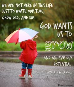 We are not here in this life just to waste our time, grow old, and die. God wants us to grow and achieve our potential. –Elder Godoy