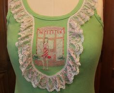 Upcycled ladies tanktop/ summer tank/ruffle by MilaLem on Etsy, $22.00