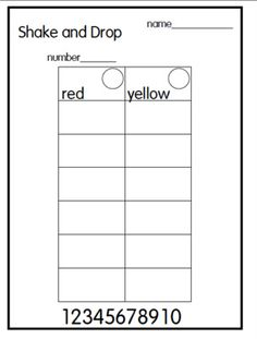 This game is really simple yet many of my kids get so confused!!!!!! You take a handful of beans and shake and drop. I have the students start with 6. Record how many red and how many yellows. I put the numbers on the bottom of the sheet to remind students of number direction.