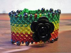 Rasta Hemp Cuff Bracelet by Jenstylehemp on Etsy