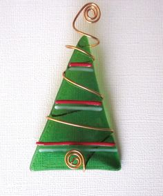 Fused Glass  Wire Wrapped Christmas Tree by outofourgourds on Etsy, $10.00