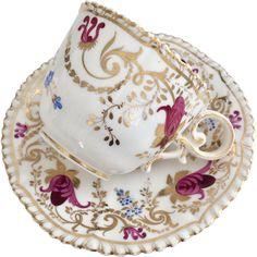 Coalport coffee cup and saucer, Pembroke shape patt 2/41 maroon flowers, 1820-1825