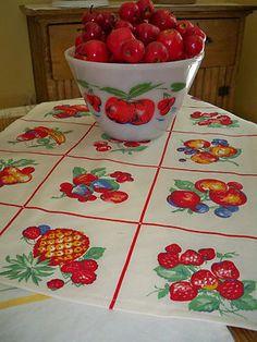 Vintage Kitchen Red Tea Towel Cherries Fruit Fire King Apple Tulip Pyrex Style | eBay