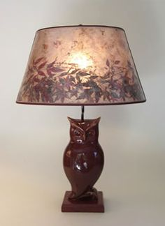 Rustic Antique Deep Red Ceramic Owl Lamp, Mica oval shade with red leaves