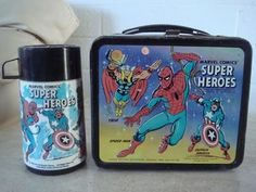 I was so proud of this lunch box. I can taste that peanut butter sandwich and Swiss Roll Little Debbie cake now. Retro Lunch Boxes, Lunch Box Thermos, Metal Lunch Box, First Marvel Comic, Marvel Comics, Peanut Butter Sandwich, Sandwich Shops, Retro Toys, Childhood Memories