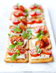 Mini sandwiches on crackers with mozzarella and tomatoes