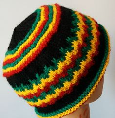 gillianknits - Rasta Hat with Tricolor Wave Stripes