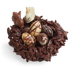 Rocher nest from L. Burdick Chocolate - A dark chocolate nest covered in chocolate-covered caramelized almond slivers. Nestled inside you will find 1 milk chocolate bunny, 1 white chocolate bunny and 5 chocolate eggs in dark, milk, and white chocolate Chocolate Mouse, Big Chocolate, Chocolate Frog, Artisan Chocolate, Chocolate Covered, Easter Candy, Easter Treats, Easter Food, Easter Eggs