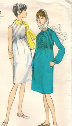 1960s Vogue 6657 Vintage Sewing Pattern Misses' Dress & Scarf Vogue Young Fashionables Size 12 Bust 32