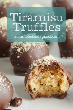 Truffles are the perfect snack sized dessert. Try one of these recipes and Never go hunting for special dessert recipes again. Mini Desserts, Just Desserts, Delicious Desserts, Plated Desserts, Bite Size Desserts, Healthy Desserts, Candy Recipes, Sweet Recipes, Dessert Recipes