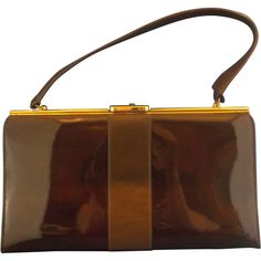 Brown Patent Faux Leather Kelly Style Handbag