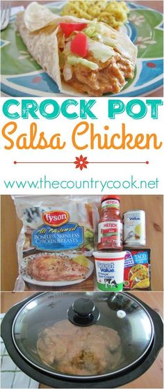 Click on picture to see this Crockpot Salsa Chicken recipe from The Country Cook! Hands down, one of my top favorite slow cooker recipes. Love, love, love this stuff! It's great in tacos, burritos, salads or tostadas. But I also love to add cooked pasta i