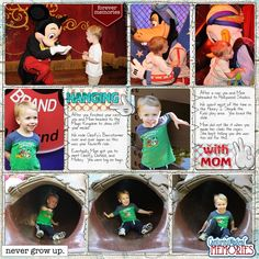 Disney Scrapbook Page Layout of meeting some classic characters in the Magic Kingdom and some fun time in the Honey I Shrunk the Kids play area in Hollywood Studios