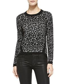 Milly Cheetah-Jacquard Pullover