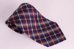 Oaks London Mens Silk Neck Tie Red Blue Plaid  #OaksLondon #NeckTie