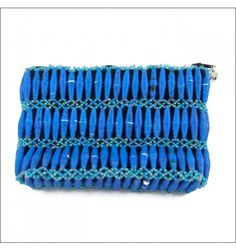 Vibrant blue clutch made with recycled paper beads. Handmade by women in Uganda! $36.95