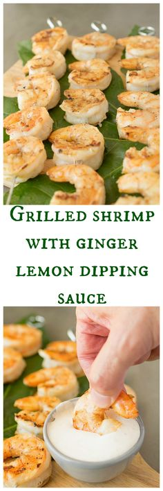 grilled shrimp with ginger lemon dipping sauce are really quick and easy. Sweet shrimp are marinated in lemon, garlic, salt and pepper, then grilled. The ginger lemon dipping sauce is the perfect accompaniment for a dish that is the perfect appetizer. Grilling Recipes, Fish Recipes, Seafood Recipes, Cooking Recipes, Shrimp Dishes, Fish Dishes, Quick And Easy Appetizers, Asian Appetizers, Good Food