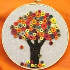I'd like to make one for each season, to go along with our nature table.  But this would also be a great hand sewing project for the kids. cute could be  made out of froot loops and fruit by the foot