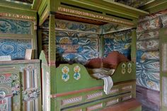 painted furniture in Eidsborg Museum in Telemark, Norway Norwegian House, Norwegian Wood, Scandinavian Interior, Scandinavian Design, Art Furniture, Painted Furniture, European Furniture, Furniture Projects, Decoration