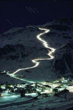 NIGHT SKIING, VAL D'ISERE FRANCE #light #design #france #travel #festival #ice