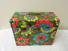 Flower Power Metal File Box, Retro Office Storage Box, Mid Century Mod Design, Vintage Funky Storage, Tin Organizer, Mod Style by GinnysGirlsTreasures on Etsy