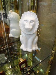 Italian white ceramic mid century lion cookie jar.