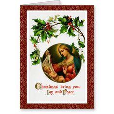 Victorian Christmas Post Card Art-Madonna & Child