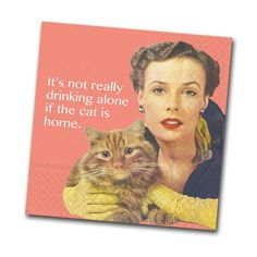 The Cat is Home Funny Cocktail Napkins