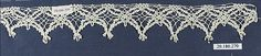 Edging Date: 16th century Culture: Italian, Venice Medium: Bobbin lace Dimensions: L. 10 x W. 1 1/2 inches 25.4 x 3.8 cm Classification: Textiles-Laces Credit Line: Rogers Fund, 1920 Accession Number: 20.186.270