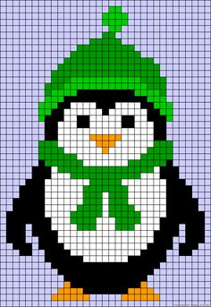 Winter penguin perler bead pattern - I think this would make a cute quilt or pillow.