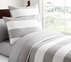 For Braydon's Room - Gray Rugby Stripe Quilt Pottery Barn Kids - Rugby Stripe Quilted Bedding Striped Bedding, Striped Quilt, Grey Bedding, Quilt Bedding, Comforter Set, Bed Quilts, Coastal Bedding, Grey Quilt, Luxury Bedding