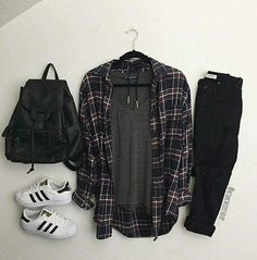 Teenage Girl Outfits, Teen Fashion Outfits, Grunge Outfits, New Outfits, Fashion Mumblr, Black Jeans Outfit, Adidas Outfit, Cute Casual Outfits, Looks Style