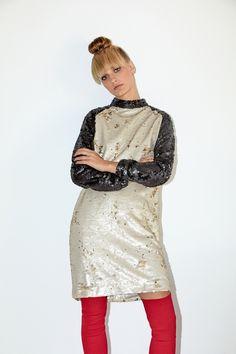 Framboise - Black and beige sequinned dress