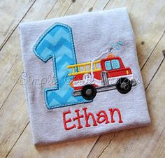 Custom fire truck birthday shirt. by SimplieGirlieDesigns on Etsy
