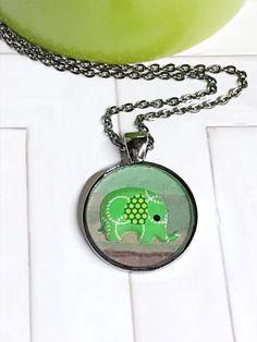 Green Elephant Pendant  Elephant Necklace by GracieLouDesignsCo