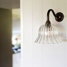 The Bodium Bell Shaped Handblown Ribbed Glass Wall Light is a beautiful, timeless addition to your home. Bathroom Spotlights, Bathroom Wall Lights, Glass Wall Lights, Ceiling Lights, Bedside Lighting, Wall Lighting, Interior Wall Lights, Lighting Companies, Antique Glass