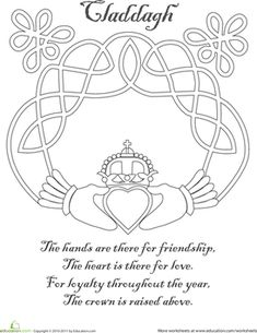 Patrick's Day Kindergarten Holidays Coloring Worksheets: Claddagh Coloring Page Colouring Pages, Adult Coloring Pages, Coloring Books, Coloring Worksheets, Mandala Coloring, Coloring Sheets, Celtic Patterns, Celtic Designs, Claddagh Symbol