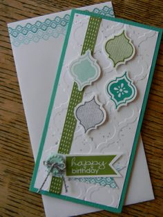 features Stampin' Up! Mosaic Madness stamp set and coordinating punch to make this 3x6 card