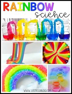 20 Rainbow Activities for Little Learners - These rainbow science experiments and activities are perfect for preschoolers or little learners. Let students explore color while observing and experimenting. These make the perfect activities for Ma. Rainbow Activities, Rainbow Crafts, Preschool Learning Activities, Preschool Science, Spring Activities, Science For Kids, Preschool Colors, Weird Science, Easy Science