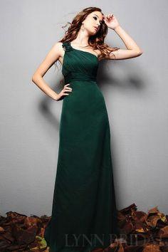 Dark Green Column One Shoulder Floor Length Chiffon Long Bridesmaid Dress   LynnBridal.com