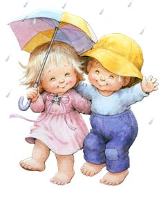 quenalbertini: Rainy day by Ruth Morehead Cute Images, Cute Pictures, Bing Images, Animal Pictures, Under My Umbrella, Sarah Kay, Holly Hobbie, Dancing In The Rain, Digi Stamps