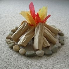 """Cute DIY play campfire for kids.this would be so cute for kids to read stories around the """"campfire"""" in the classroom Cowboy Party, Activities For Kids, Crafts For Kids, Kids Diy, Pioneer Activities, Party Activities, Backyard Camping, Outdoor Camping, Beach Camping"""