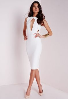 Cut Out Bust Midi Dress White - Dresses - Midi Dresses - Missguided
