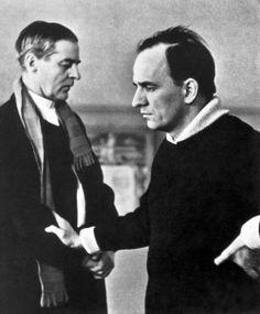 Gunnar Björnstrand and Ingmar Bergman on the set of Winter Light.
