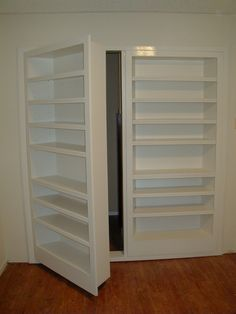 Custom-built double-door secret door by Fiorenza Custom Woodworking