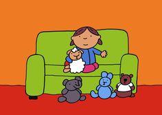 """Verhaal: Jij mag er ook bij - prent 5  """"Ze neemt snel schaap, beer, konijn en olifant dicht bij zich."""""""