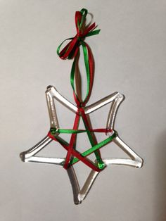Clear Star fused glass Christmas ornament with by Energylites