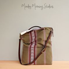 Serape Foldover Tote in Sage with Adjustable Custom Length Leather Strap, Boho Foldover Crossbody Bag, Mexican Style Fabric Messenger Bag