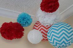 7 pieces Turquoise Blue & Red  CheVron  paper  lantern tissue paper  pompom//nursery decor// baby bridal shower// gender reveal